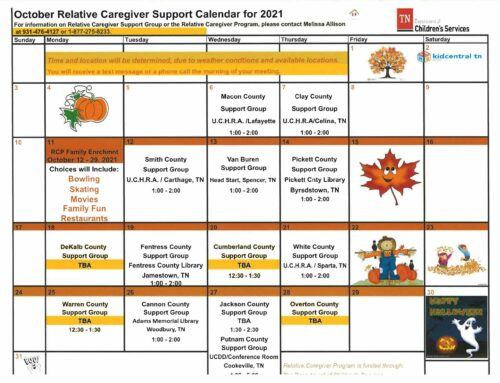 Relative Caregiver October Calendar